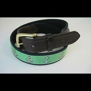 NWOT Vineyard Vines Anchors Canvas Leather Belt